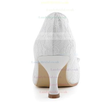 Women's Lace with Bowknot Kitten Heel Closed Toe Pumps #LDB03030099
