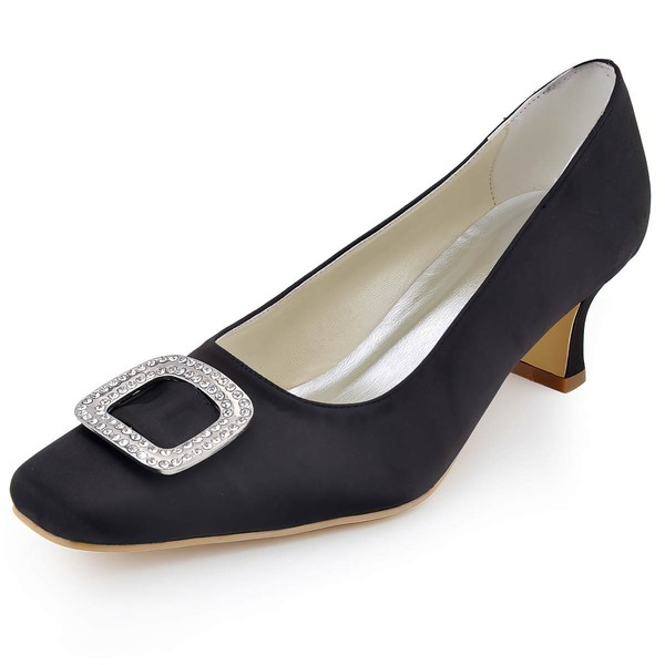 Women's Satin with Crystal Chunky Heel Pumps Closed Toe #LDB03030101