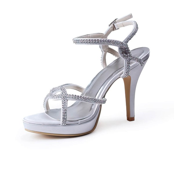 Women's Satin with Crystal Stiletto Heel Pumps Sandals #LDB03030102