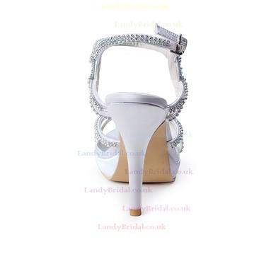 Women's Satin with Crystal Stiletto Heel Pumps Sandals #LDB03030102