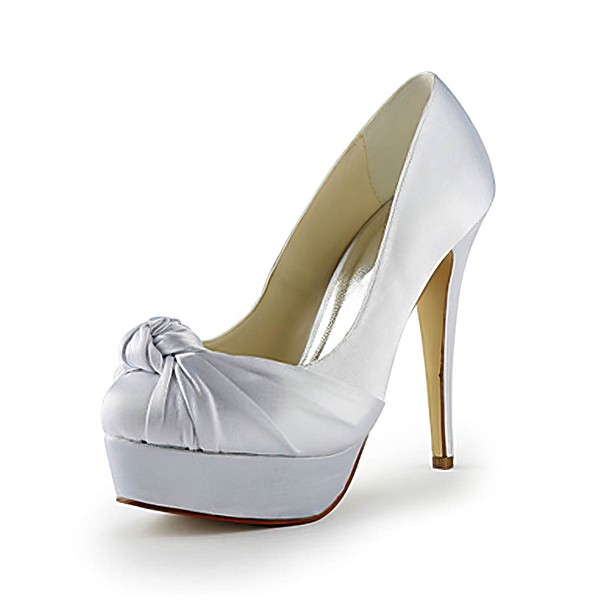 Women's Satin with Bowknot Stiletto Heel Pumps Peep Toe Platform #LDB03030103
