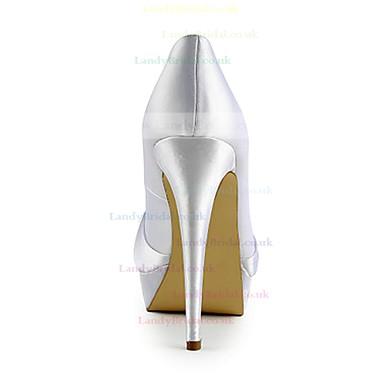 Women's Satin with Bowknot Stiletto Heel Pumps Peep Toe Platform #LDB03030103