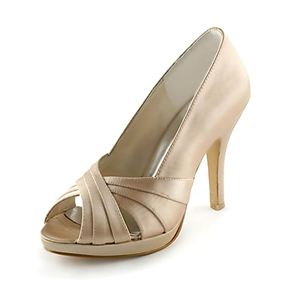 Women's Satin with Hollow-out Stiletto Heel Pumps Peep Toe #LDB03030104