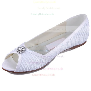 Women's Satin with Crystal Ruffles Flat Heel Peep Toe Flats #LDB03030105