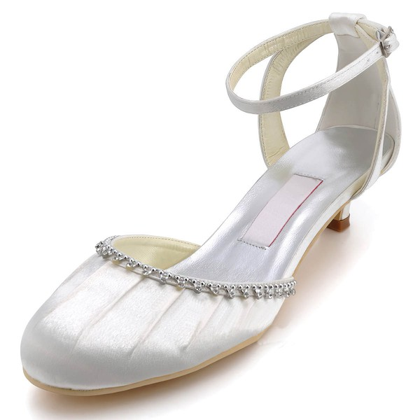 Women's Satin with Crystal Ruffles Buckle Low Heel Closed Toe Sandals #LDB03030106