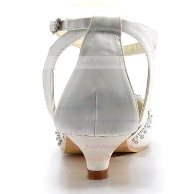 Women's Satin with Crystal Ruffles Buckle Low Heel Closed Toe Sandals #LDB03030106