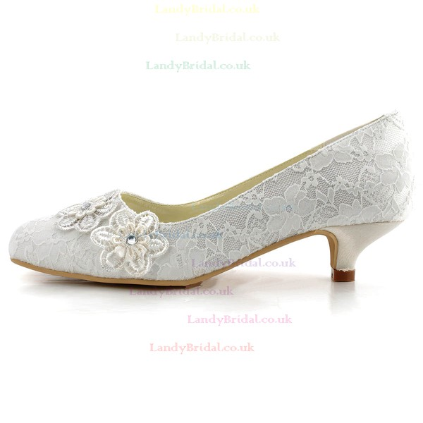 Women's Lace with Flower Crystal Low Heel Pumps Closed Toe