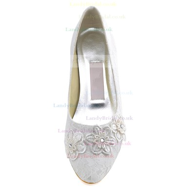 Women's Lace with Flower Crystal Low Heel Pumps Closed Toe #LDB03030107