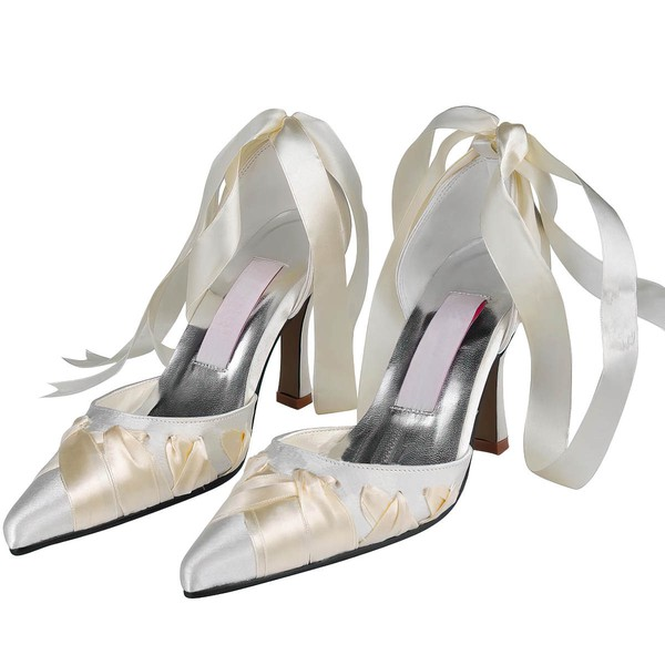 Women's Satin with Ribbon Tie Stiletto Heel Pumps Closed Toe #LDB03030108