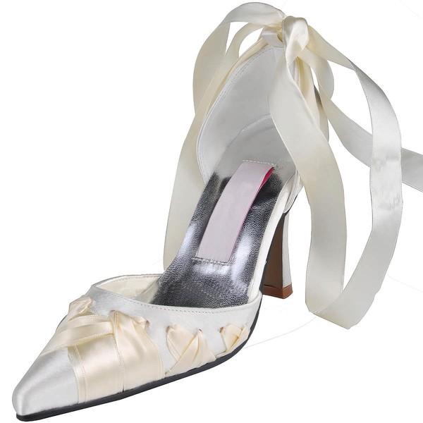 Women's Satin with Ribbon Tie Stiletto Heel Pumps Closed Toe
