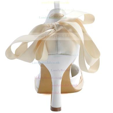 Women's Satin with Ribbon Tie Stiletto Heel Pumps Closed Toe #LDB03030108