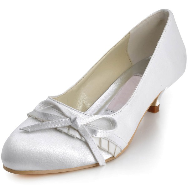 Women's Satin with Bowknot Low Heel Closed Toe #LDB03030109
