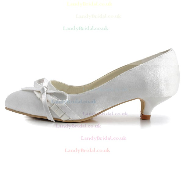 Women's Satin with Bowknot Low Heel Closed Toe