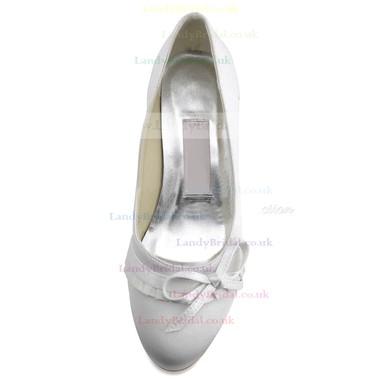 Women's Satin with Bowknot Low Heel Closed Toe #LDB03030109