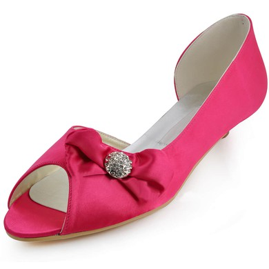 Women's Satin with Bowknot Low Heel Pumps Peep Toe #LDB03030110
