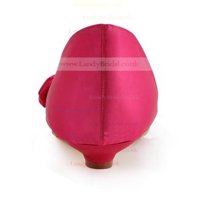 Women's Satin with Bowknot Low Heel Pumps Peep Toe #LDB03030110
