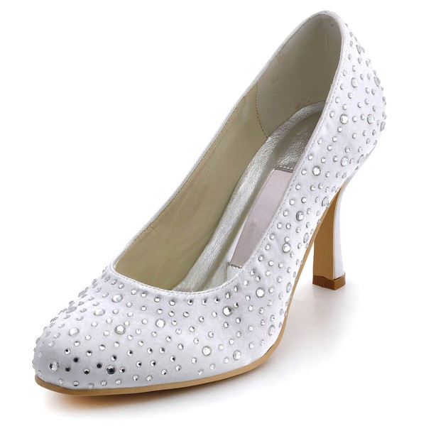 Women's Satin with Crystal Spool Heel Pumps Closed Toe