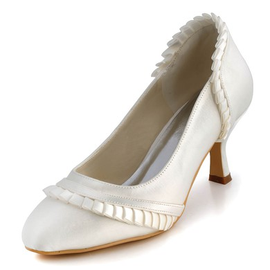 Women's Satin with Ruffles Kitten Heel Pumps Closed Toe #LDB03030113
