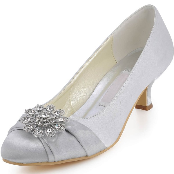 Women's Satin with Rhinestone Ruffles Low Heel Pumps Closed Toe
