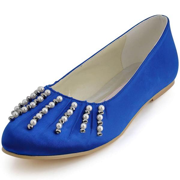 Women's Satin with Pearl Flat Heel Flats #LDB03030115