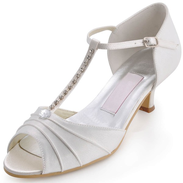 Women's Satin with Rhinestone Buckle Kitten Heel Sandals Peep Toe #LDB03030116