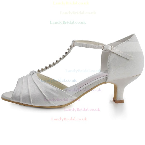 Women's Satin with Rhinestone Buckle Kitten Heel Sandals Peep Toe