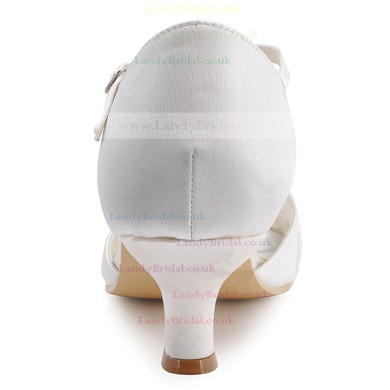 Women's Satin with Rhinestone Buckle Kitten Heel Sandals Peep Toe #LDB03030116
