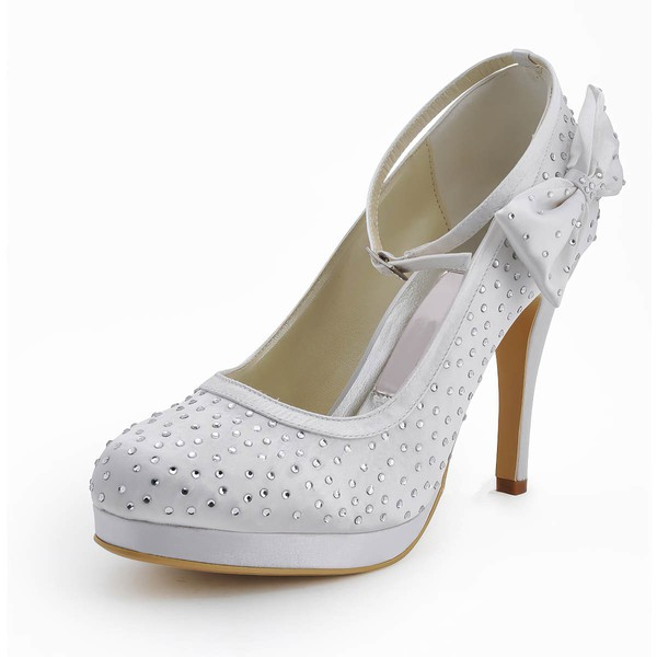 Women's Satin with Rhinestone Buckle Bowknot Stiletto Heel Pumps Closed Toe Platform #LDB03030118