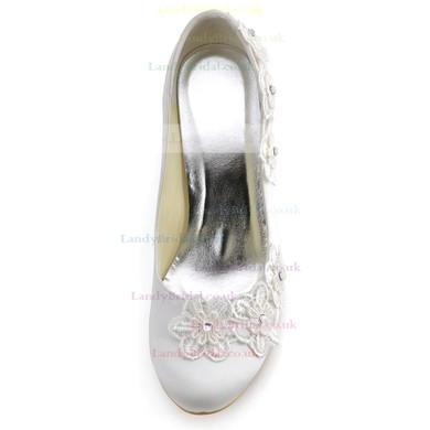 Women's Satin with Flower Wedge Heel Closed Toe Wedges #LDB03030119