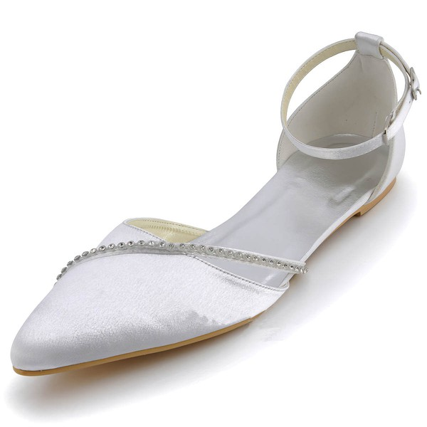 Women's Satin with Rhinestone Buckle Flat Heel Closed Toe Flats #LDB03030120