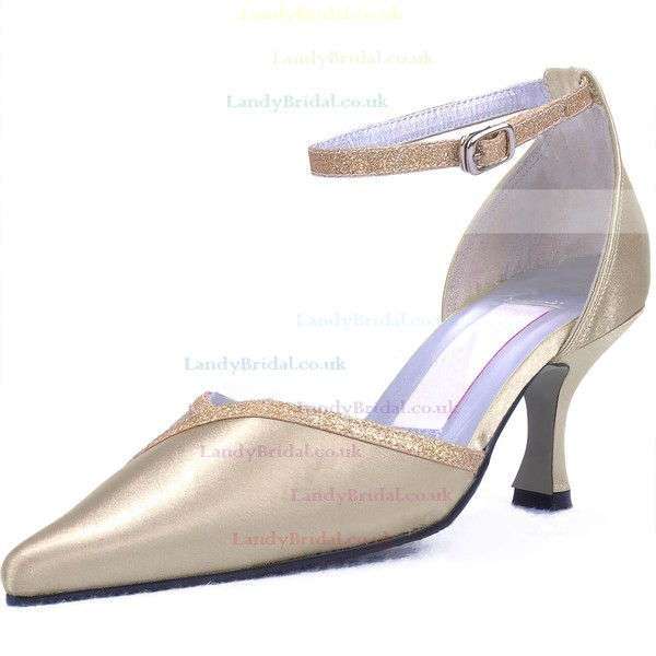 Women's Satin with Buckle Sparkling Glitter Kitten Heel Pumps Closed Toe
