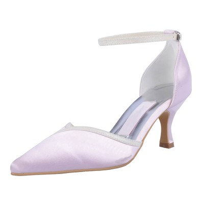 Women's Satin with Buckle Sparkling Glitter Kitten Heel Pumps Closed Toe #LDB03030121