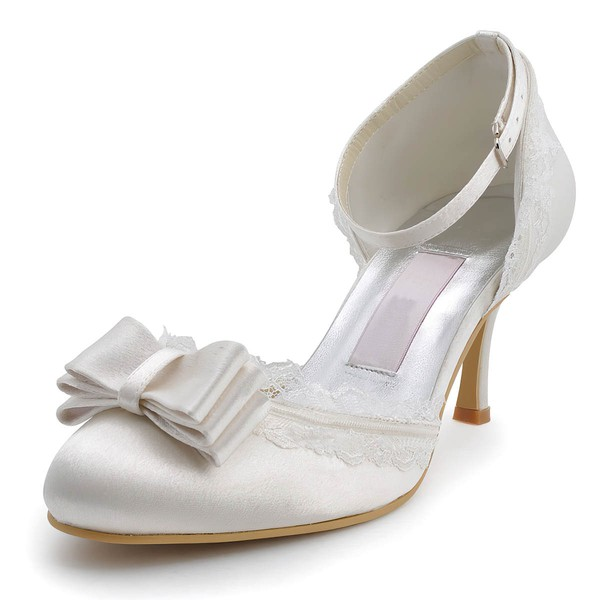 Women's Satin with Buckle Bowknot Stitching Lace Kitten Heel Pumps Closed Toe