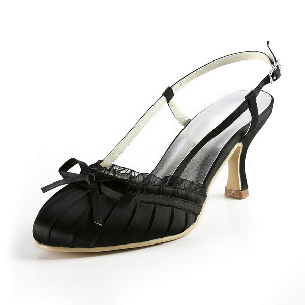 Women's Satin with Buckle Bowknot Stitching Lace Kitten Heel Closed Toe Sandals Slingbacks #LDB03030123