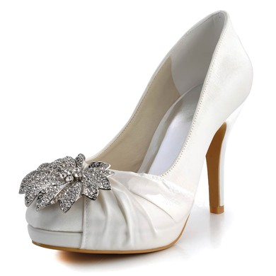 Women's Satin with Rhinestone Ruffles Stiletto Heel Platform Closed Toe Pumps #LDB03030124
