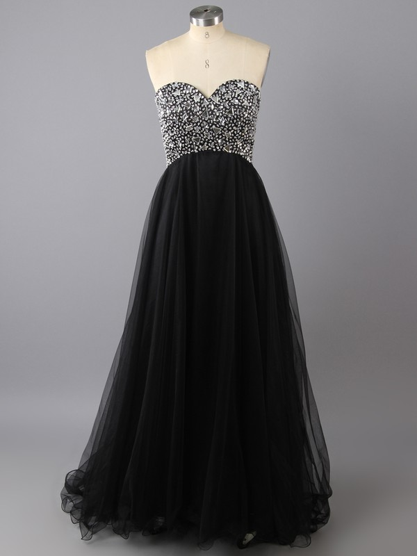 Black Tulle Sweetheart Lace-up Beading Empire Prom Dress #LDB02022525