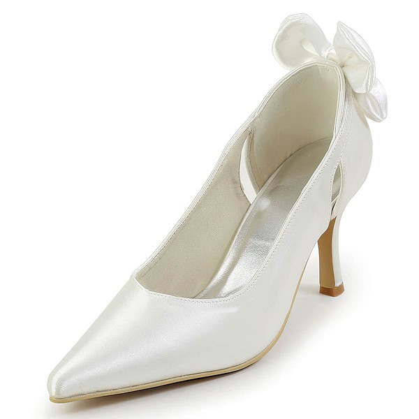 Women's Satin with Bowknot Hollow-out Stiletto Heel Pumps Closed Toe #LDB03030126