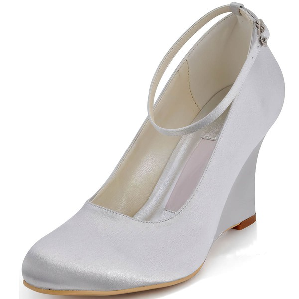 Women's Satin with Buckle Wedge Heel Closed Toe Wedges #LDB03030127