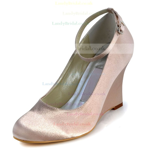 Women's Satin with Buckle Wedge Heel Closed Toe Wedges