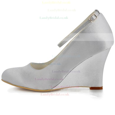 Women's Satin with Buckle Wedge Heel Closed Toe Wedges #LDB03030127