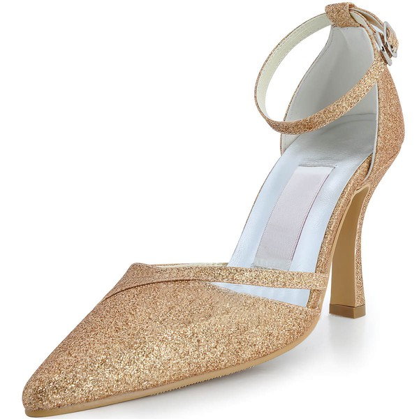 Women's Satin with Rhinestone Buckle Sequin Stiletto Heel Pumps Closed Toe #LDB03030128