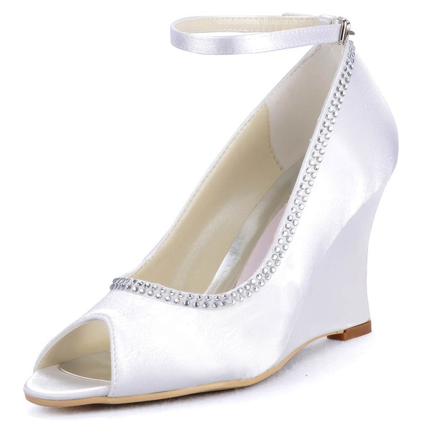 Women's Satin with Buckle Beading Wedge Heel Peep Toe Wedges #LDB03030129