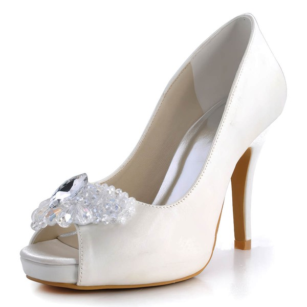 Women's Satin with Rhinestone Crystal Stiletto Heel Pumps Peep Toe Platform #LDB03030130