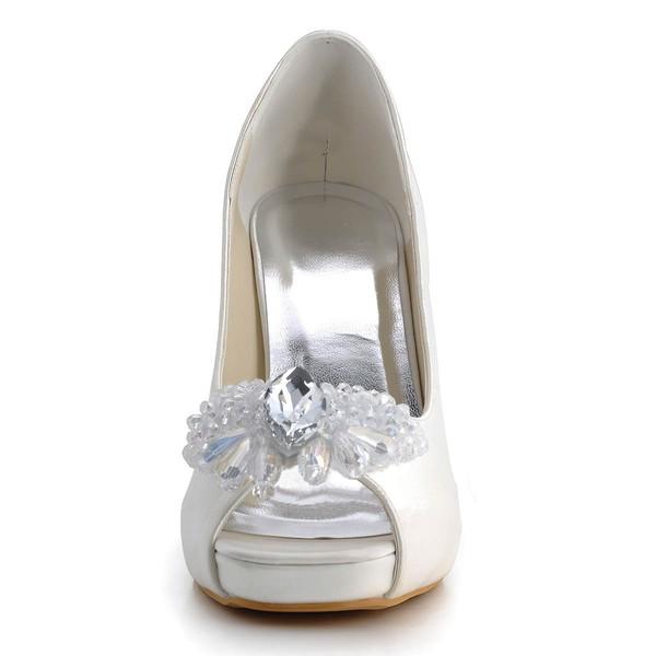 Women's Satin with Rhinestone Crystal Stiletto Heel Pumps Peep Toe Platform