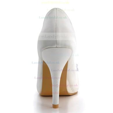 Women's Satin with Rhinestone Crystal Stiletto Heel Pumps Peep Toe Platform #LDB03030130