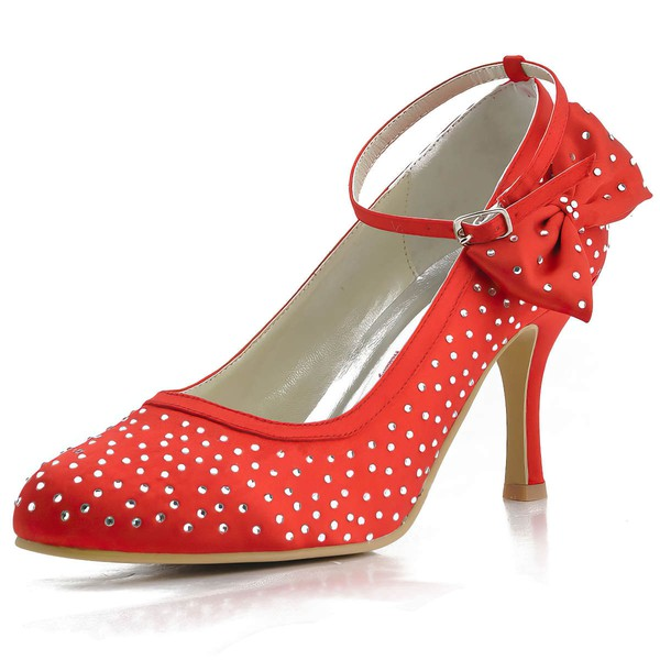 Women's Satin with Buckle Bowknot Crystal Stiletto Heel Pumps Closed Toe #LDB03030131