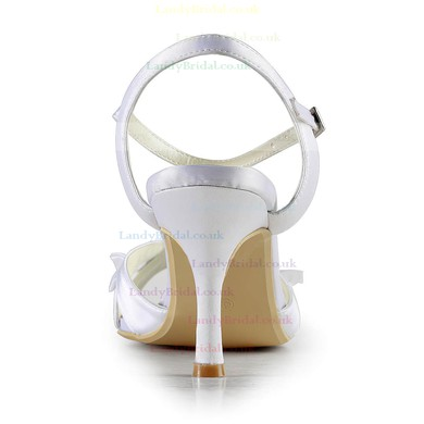 Women's Satin with Buckle Ruffles Stiletto Heel Sandals Peep Toe Slingbacks #LDB03030132