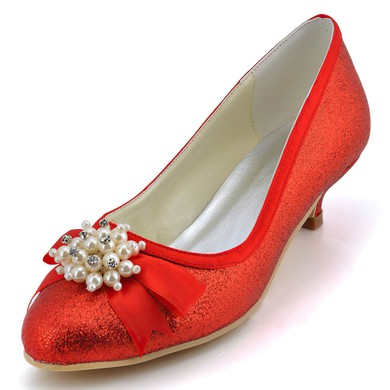 Women's Satin with Sequin Ribbon Tie Pearl Kitten Heel Pumps Closed Toe #LDB03030133