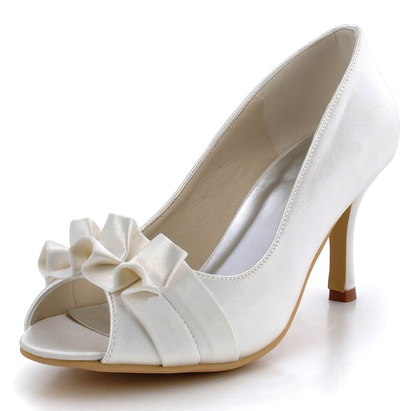 Women's Satin with Ruffles Stiletto Heel Pumps Peep Toe #LDB03030134