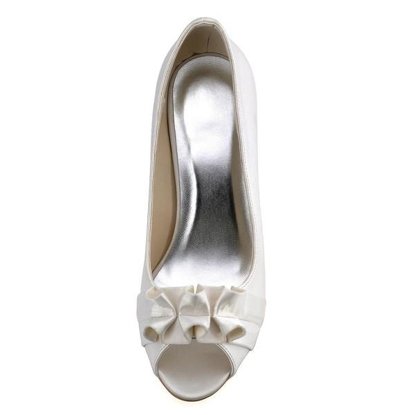 Women's Satin with Ruffles Stiletto Heel Pumps Peep Toe
